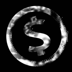 Dollar sign on a black background